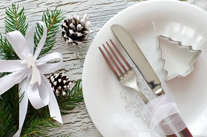 Festive christmas dinner tableware with white plate