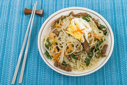 Japchae - Stir fried Korean noodles with beef, mushrooms and veg
